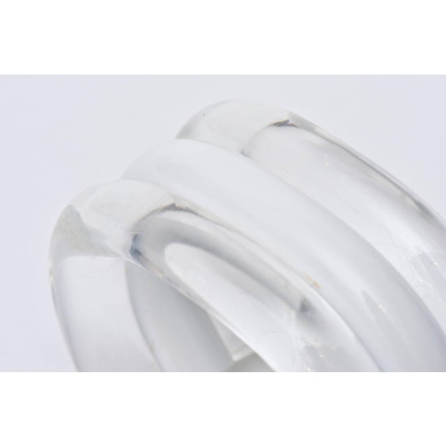 White Judith Hendler Lucite Clear and White Cuff Bracelet For Sale - Image 8 of 9
