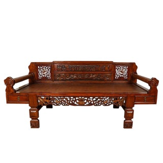 Antique Chinese Carved Lady's Daybed For Sale
