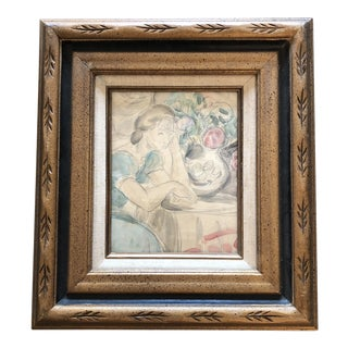 Original Vintage Female Portrait Interior Watercolor Painting For Sale