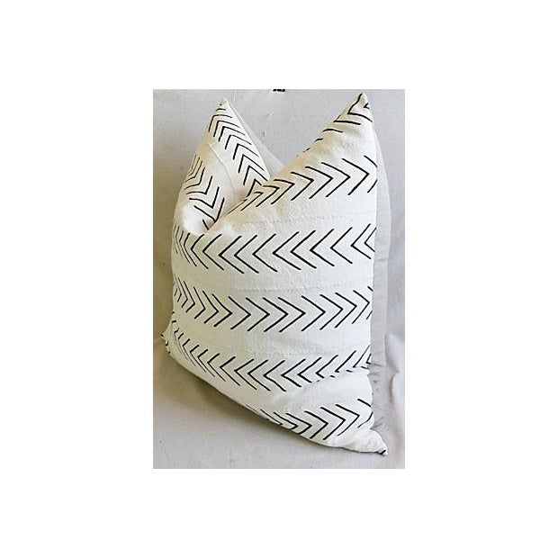 """Abstract Bohemian Chic Jumbo 32"""" Black & White Tribal Pillow/ Floor Cushion For Sale - Image 3 of 8"""