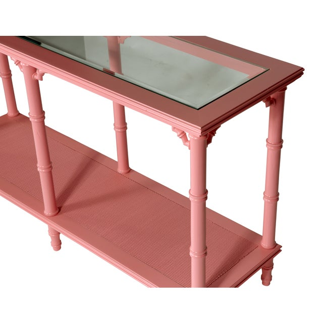 Faux Bamboo Pink Lacquer Console Table - Image 3 of 3