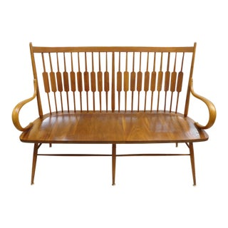 Kipp Stewart for Drexel Declaration Mid-Century Modern Walnut Bench For Sale
