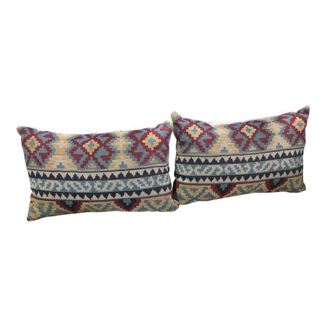 Boho Chic Lee Jofa Kilim Pillows - a Pair For Sale