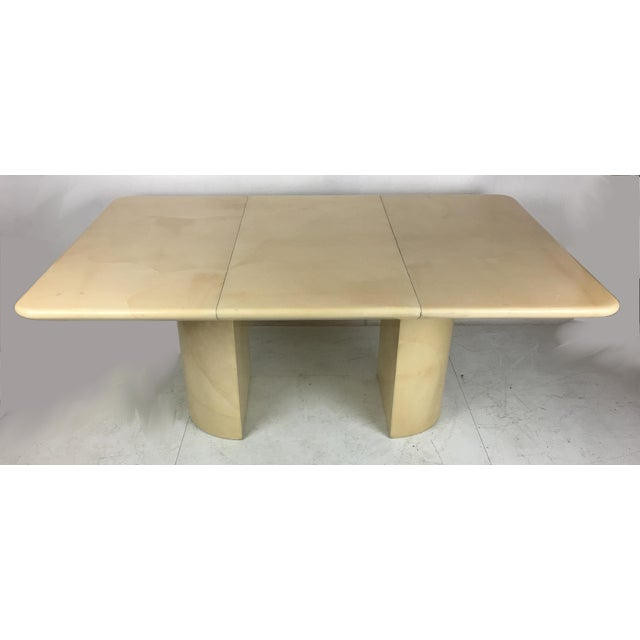 Ron Seff 1980s Modern Parchment Extension Dining Table by Ron Seff For Sale - Image 4 of 6