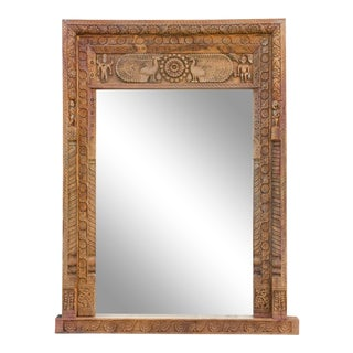 Magnificent 18th Century Mora Carved Floor Mirror For Sale
