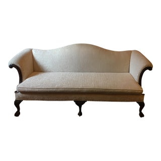 Early 20th Century Antique Camel-Back Chippendale Sofa For Sale