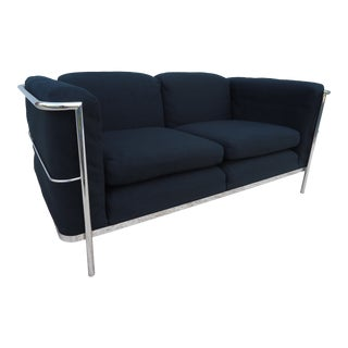 1928 Vintage Jack Cartwright Le Corbusier Lc2 Style Black Loveseat Settee For Sale