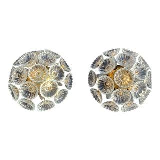 German Floral Glass Flush Mount - a Pair For Sale
