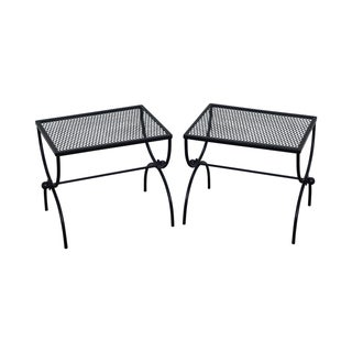 Mid Century Painted Metal X Base Low Tables - Pair For Sale