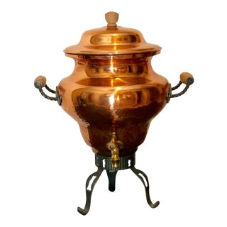 Vintage Copper Hot Water Pot/ Stand Stockli Neisial Copper Samovare Brass Handle For Sale