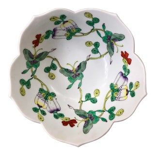 Mid Century Vintage Chinese Famille Verte Green Butterfly and Floral Porcelain Lotus Bowl For Sale