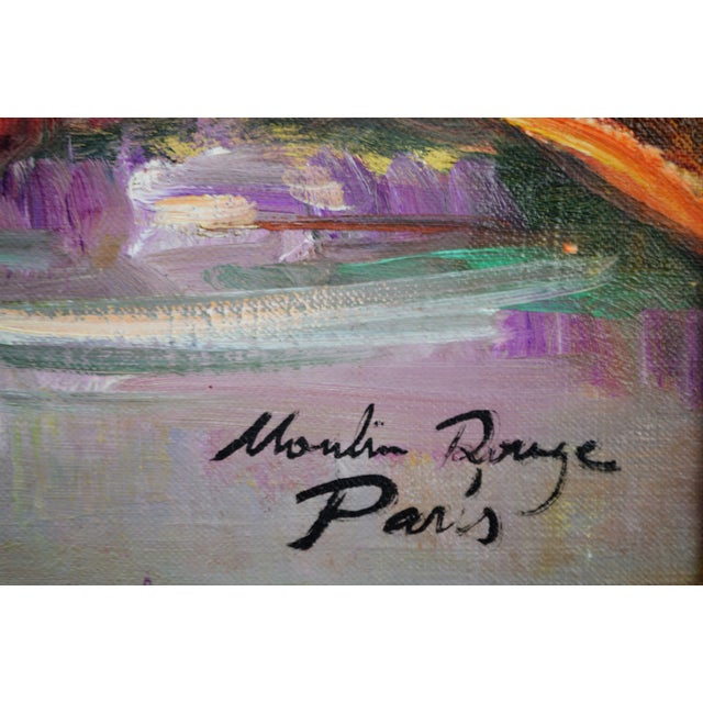 Paris Moulin Rouge Framed Signed Oil Painting - Image 8 of 10