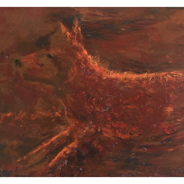 Mid 20th Century Midcentury Folk Art Running Rusty Dog Oil Painting by M Sanders For Sale - Image 5 of 9