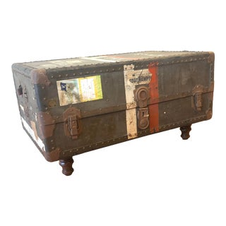 Antique Travel Chest Coffee Table For Sale