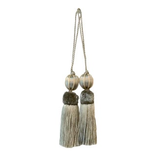 """French Blue Beaded Key Tassels - H - 4.5"""" - a Pair For Sale"""