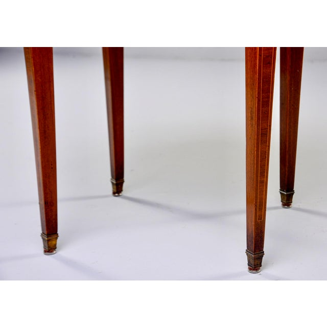 French Oak Marble Top Gueridon With Marquetry and Brass Gallery For Sale - Image 12 of 13