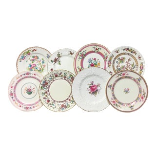 Vintage Pink & Turquoise Blended Salad/Dessert Plates - Set of 8 For Sale