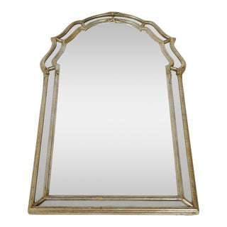 La Barge Mid-Century Italian Regency Aged Silver Leaf Mirror For Sale