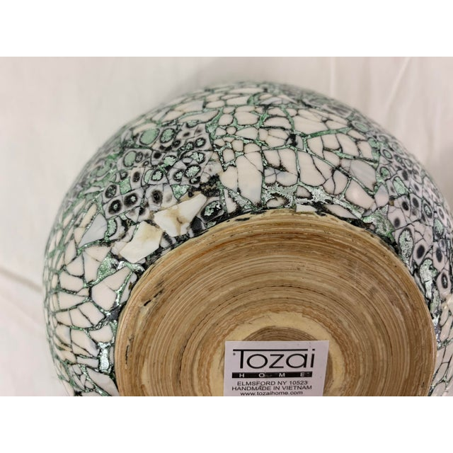 Silver/Green Eggshell & Bamboo Lacquered Covered Boxes - a Pair For Sale - Image 9 of 10