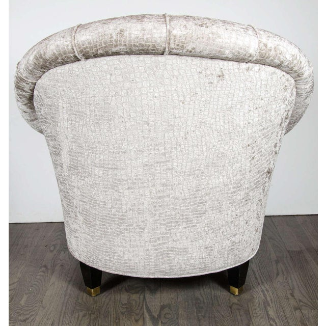 Brass Mid-Century Modernist Tufted Button Back Club Chair For Sale - Image 7 of 8