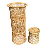 Image of 1970s Vintage Boho Chic Wicker Plant Stands-a Pair For Sale