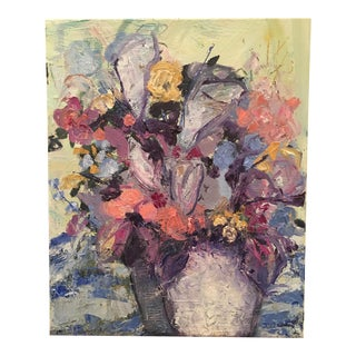 Florals With Stripes Oil Painting by JJ Justice