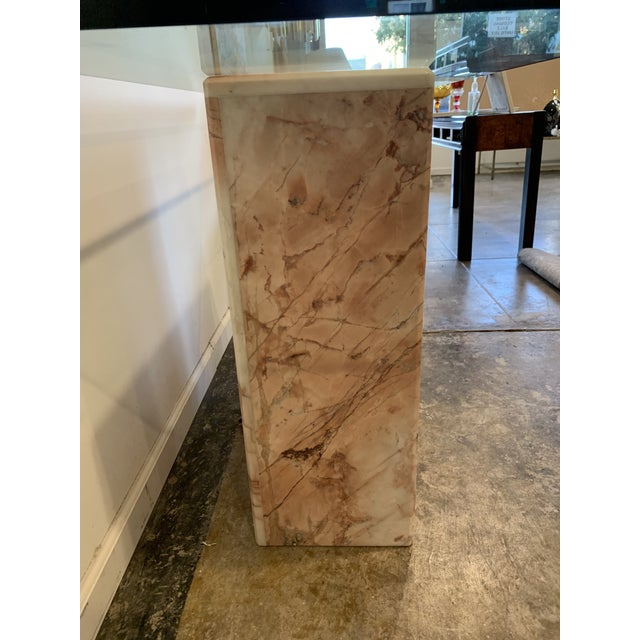 1970s 1970s Pink Marble Console With Thick Glass Top For Sale - Image 5 of 9