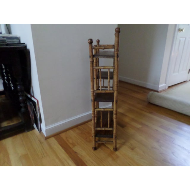 Bamboo Etagere With Burnt Decoration, 19th Century For Sale - Image 9 of 12