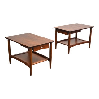 Walnut Mid Century Modern End Tables- a Pair For Sale