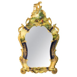 Italian Roccoco Revival Style Giltwood Hand Painted Wall Mirror