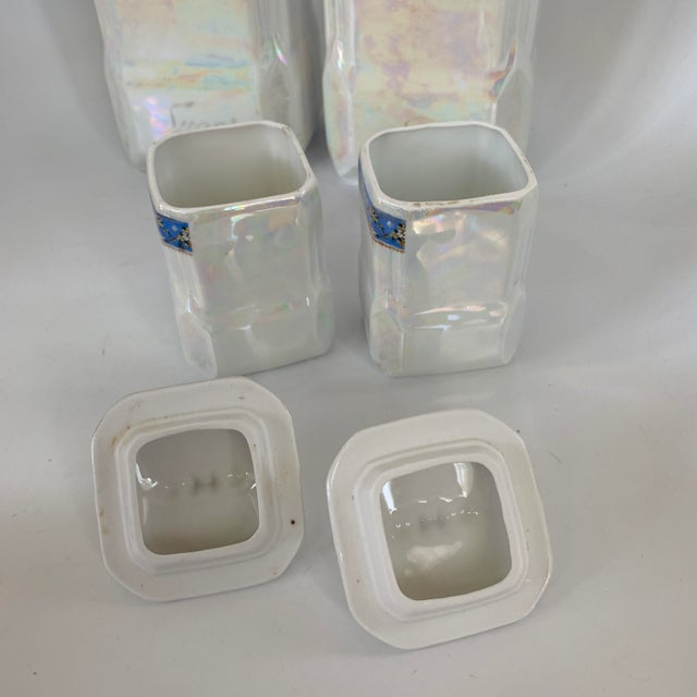 Art Nouveau Victoria Czech Slovakia Luster Ware Canisters Jars Iridescent Set For Sale - Image 10 of 13