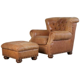 Tufted Leather Armchair and Ottoman in the Style of Ralph Lauren For Sale