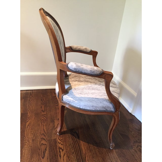 """1910s French Hide Upholstered """"Hers"""" Bergere Chair For Sale - Image 5 of 9"""