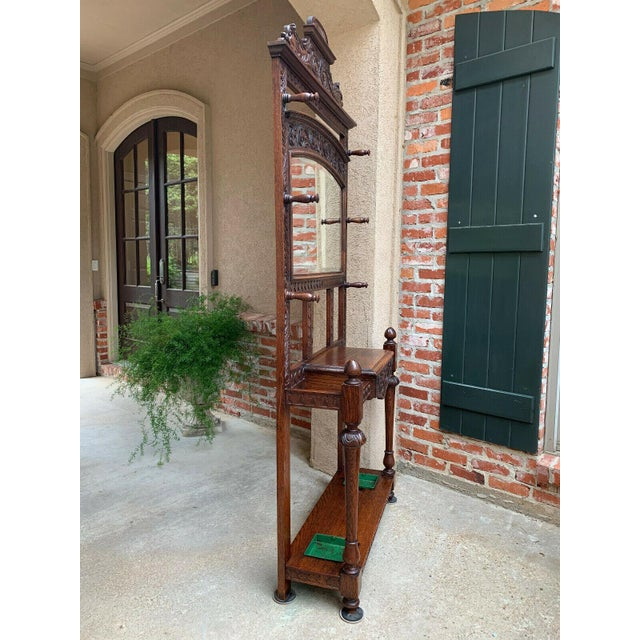 Antique English Renaissance Carved Oak Hall Tree Stand Dome Mirror Coat Hat Rack For Sale - Image 4 of 13