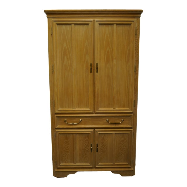 """Stanley Furniture Pickled Oak 42"""" Door Chest/Armoire For Sale"""