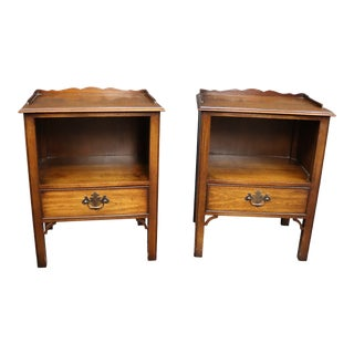 Kindel Chippendale Style Mahogany Nightstands- a Pair For Sale