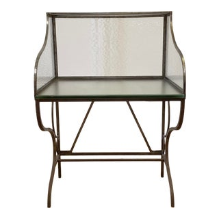 Vintage Iron and Wavy Glass Postal Desk For Sale