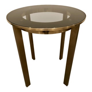 Modern Calvin Klein Brushed Brass/Glass Side Table For Sale