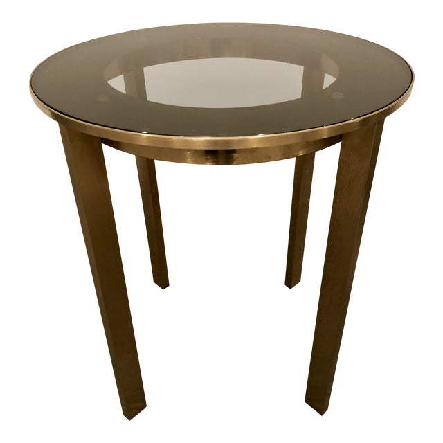 Side Table Klein.Modern Calvin Klein Brushed Brass Glass Side Table Chairish