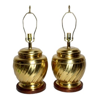 1950s Hollywood Regency Large Brass & Wood Urn Lamps - a Pair For Sale