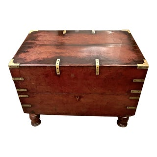 Early 19th Century English Mahogany Footed Campaign Chest or Trunk