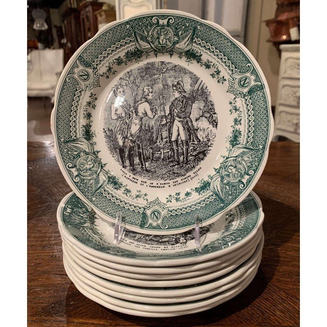 19th Century French Painted Napoleonic Sarreguemines Ceramic Plates-Set of 9 For Sale - Image 13 of 13