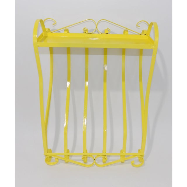 Antique Electric Yellow Wrought Iron Patio Shelf For Sale In Sacramento - Image 6 of 11