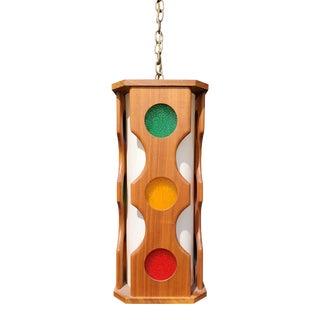 A Mid-Century Modern Teak Wood Ceiling - Pendant Light For Sale