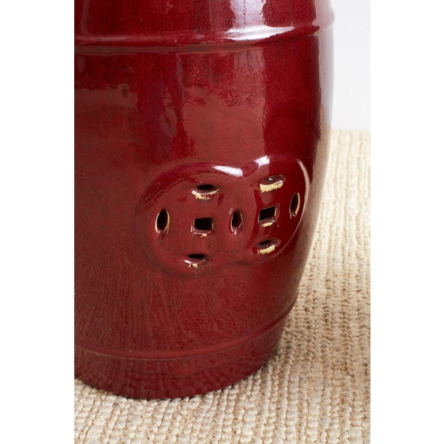 Chinese Oxblood Sang De Boeuf Style Garden Stools For Sale - Image 12 of 13