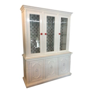 1960s Drexel Faux Rattan China Cabinet For Sale