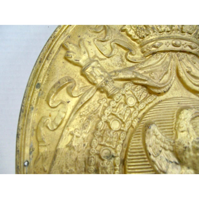 Empire Antique French 1st Empire Brass Oval Notary Plaque For Sale - Image 3 of 13
