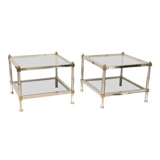 Mid-Century Maison Jansen Chrome & Brass Side Tables - A Pair