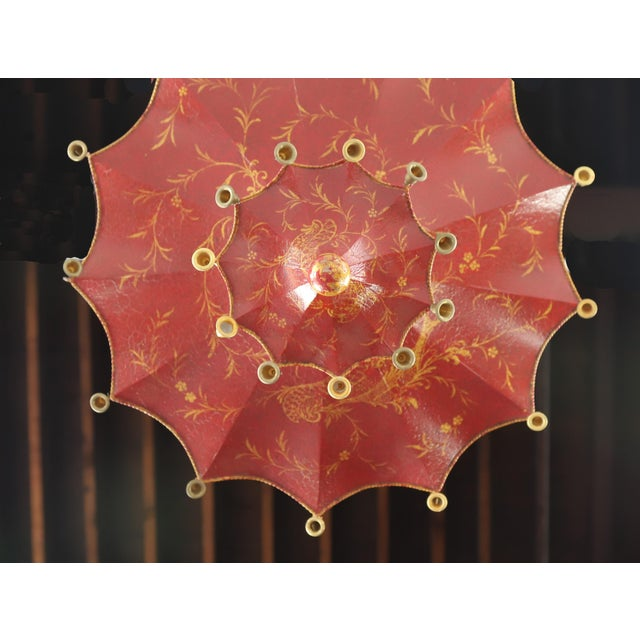 Vintage Two Tiers Upside Down Umbrella Ceiling Chandelier With Bells, Red/Gold in Arabasic Design For Sale In New York - Image 6 of 10