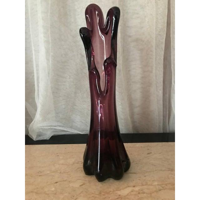 Amethyst Viking Glass Amethyst Purple Vase For Sale - Image 7 of 8